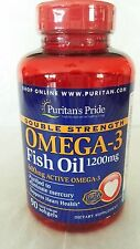 Puritan's Pride Double Strength Omega-3 Fish Oil 1200mg with 600mg EPA DHA 90 sg