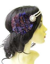 Dark Purple Ivory Pearl Feather Headpiece Headband Flapper Great Gatsby Vtg 1634