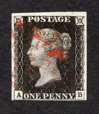 QV 1840 sg 2 1d black plate 6 ( A B ) 4 margin penny black with red M X pmk