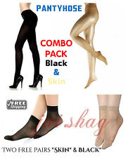 Black & Skin Color High Waist Tight Stocking Soft Stretch PantyHose (Free Socks)