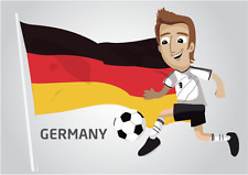 "Germany Flag Football Player Soccer Car Bumper Sticker Decal 5"" x 4"""