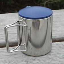 Travel Use Foldable Handle Camping Cup Stainless Steel Outdoor Coffee Tea Mug