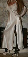 M LONG IVORY SATIN VTG LINGERIE SLIP VICTORIA SECRET NIGHTGOWN NEGLIGEE