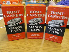 Home Canners Mason Jar Caps 1950's-60's? 3 Boxes of 1 Dozen Caps Without Gaskets