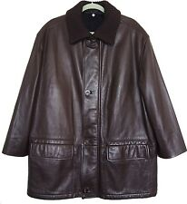 CANALI BROWN LEATHER COAT SIZE EUR 52  US 42
