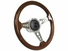 1969 - 1994 9 Bolt Mahogany Steering Wheel Kit w/Hub, Blue Chevy Bow Tie Emblem
