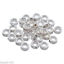 30 New PCs SP Rhinestone Rondelle Spacer Beads Findings 5mm