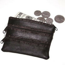 Black Genuine Leather Zipper Change Pocket Credit Holder Purse  Key Holder Ring