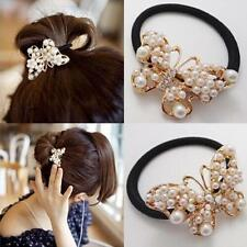 Pearl Beaded Butterfly Love Hairband Rubber Band Hair Rope Accessories