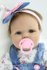 Nicery Reborn Baby Doll Soft Silicone Girl Toy 22in. 55cm Blue Dress Lucy