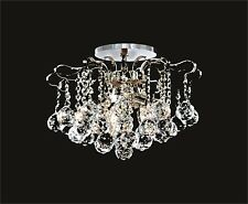 "Ceiling Mount Fixture (D14"" x H11"") CHROME Frame + NEW Clear Crystals + 6 lights"