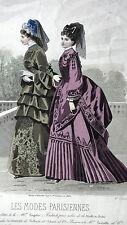 GRAVURE MODE ANCIENNE 19e -  LES MODES PARISIENNES - SOIERIES DE LYON