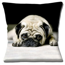 "NEW CUTE RESTING PUG DOG PHOTO PRINT BLACK WHITE FAWN 16"" Pillow Cushion Cover"