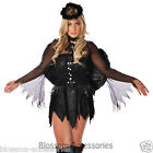 E89 Ladies Black Fallen Dark Angel Halloween Fancy Dress Costume + Halo + Wings