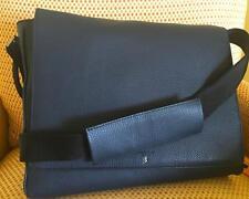 Serapian Men's blue leather Cerrato Grained leather E-W Flap Messenger bag NWT