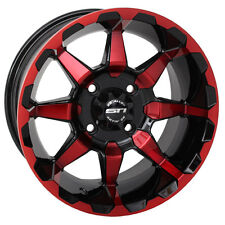 "Set of (4) 12"" STI HD6 Red Orange Blue Aluminum Golf Cart Car Rim Wheels"