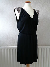 Warehouse Black  Party/Evening Dress Beaded & Diamante  Shoulders  Size 10