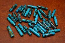 "60 PCS AQUA BLUE TUBE BUFFALO BONE BEADING BEADS 1"" #T-1725A"