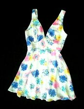 WHITE/MULTI-COLOR FLORAL PRINT PLUNGED DOUBLE V-NECK SLEEVELESS DRESS M 8 10