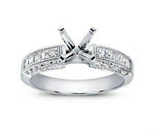 1.00 ct Ladies Princess Cut Diamond Semi Mount Engagement Ring In 18 Karat Gold