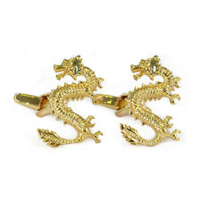 Gold Coloured Chinese Dragon Cufflinks New & Boxed folklore yin yang AJ181