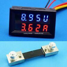 DC 200V 100A Red&Blue Digital Led Dual Panel Volt Amp Meter+100A 75mV Shunt 12v