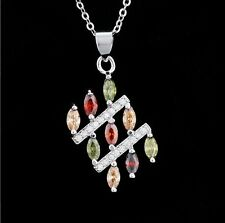 Lady Emerald Garnet Topaz Clear CZ 925 Sterling Silver Chain Pendant Necklace P7