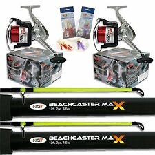 2 x 2pc 12ft 4-6oz NGT Beachcaster Rods and Reel Set Sea Fishing Combo + Line