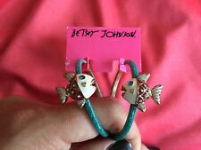 Betsey Johnson Vintage Under The Sea Piranha Fish Blue Glitter Hoop Earrings