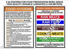 FOOD HYGIENE 2 KITCHEN A4 SIGNS- 12 GOLDEN RULES & PREVENT CROSS CONTAMINATION