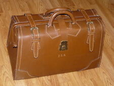 Vintage 1940's T-S Thom-Skinner Ltd Travel Bag Cowhide Leather Suitcase Satchel