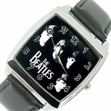 THE BEATLES BAND BF Orologio Pelle Acciaio Musica Rock LEGENDS SQUARE CD Orologio UK e2