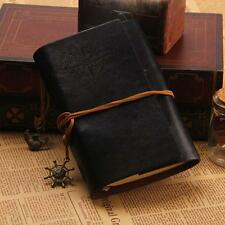 Classic Color PU Leather Retro Vintage Blank Page Notebook Journal Diary BLK KJ