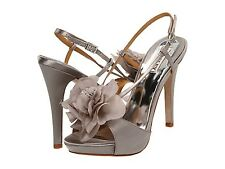 NIB Badgley Mischka Zabrina Flower heels sandals open shoes ASH  GRAY 10