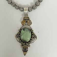 Sterling Silver faceted Natural Semi Precious pendant & plated  bead Necklace