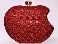 Declaración de encaje de ganchillo Brillo BITTEN Apple de fiesta noche clutch bag Red