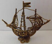 Small Vintage Filigree Galleon Ship Portugal