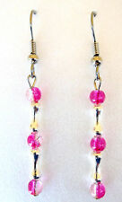 Silver Bones/Hot Pink Crackle Beads-Surgical Steel-Handmade By Pizazz Creations