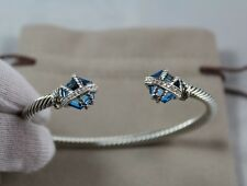 DAVID YURMAN STERLING SILVER CABLE WRAP BRACELET WITH BLUE TOPAZ AND DIAMONDS
