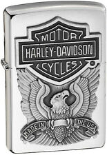 Zippo Harley Davidson HD Eagle Logo Emblem Brushed Chrome Lighter 200HD.H284 NEW