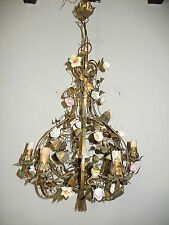 ~c 1930 French Tole Porcelain Flowers Winged Cherub Chandelier Vintage Original~