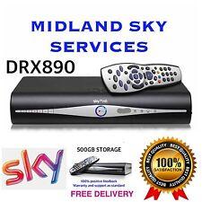 SKY+/PLUS HD BOX 500gb AMSTRAD SLIMLINE RECIEVER/RECORDER + REMOTE & POWER CABLE