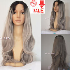 Women Lady Sexy Long Straight Wig Hair Heat Resistant Black And Grey Ombre Wigs