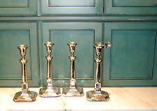 Set of 4 Antique English Sheffield Plate Silver Tall Column Square Candlesticks