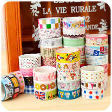 10Pcs DIY Washi Rollos Pegajoso Cintas Tape Etiqueta Adhesiva Decorativo Sticker