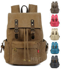 Vintage Canvas Outdoor Travel Rucksack Hiking Book School Bag Satchel Backpack