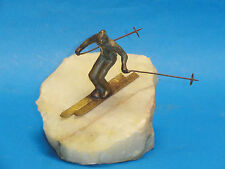 LARGE SIGNED 1976 CURTIS JERE BRONZE AND ONYX FIGURE  'DOWNHILL SKIER'