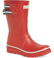 NEW HUNTER Original Short Platform Wedge Rubber Rain Boots US 7/EUR 38 Red/Blue