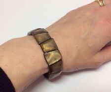 Bracelet Mother of Pearl Brown Square Stretch Elasticated Bead MOP Shell Cuff