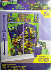 "GIANT TEENAGE MUTANT NINJA TURTLES COMPLEANNO DECORAZIONE MURALE Kit (6 ""Tall) 5 DECS"